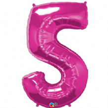 "Pink Number 5 Balloon - Foil Number Balloon 1pc (34"" Qualatex)"